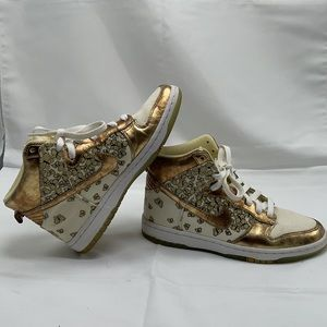 Nike Dunk Skinny Supreme High Top Gold Sneakers